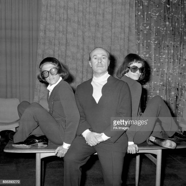Designer Jacques Esterel with male model JeanLuc left and Bibelot giving a fashion show at Heathrow Airport before taking part in a London showing of...