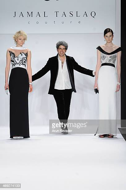 Designer Jamal Taslaq walks the runway at the FLT Moda Art Hearts Fashion show presented by AIDS Healthcare Foundation during MercedesBenz Fashion...