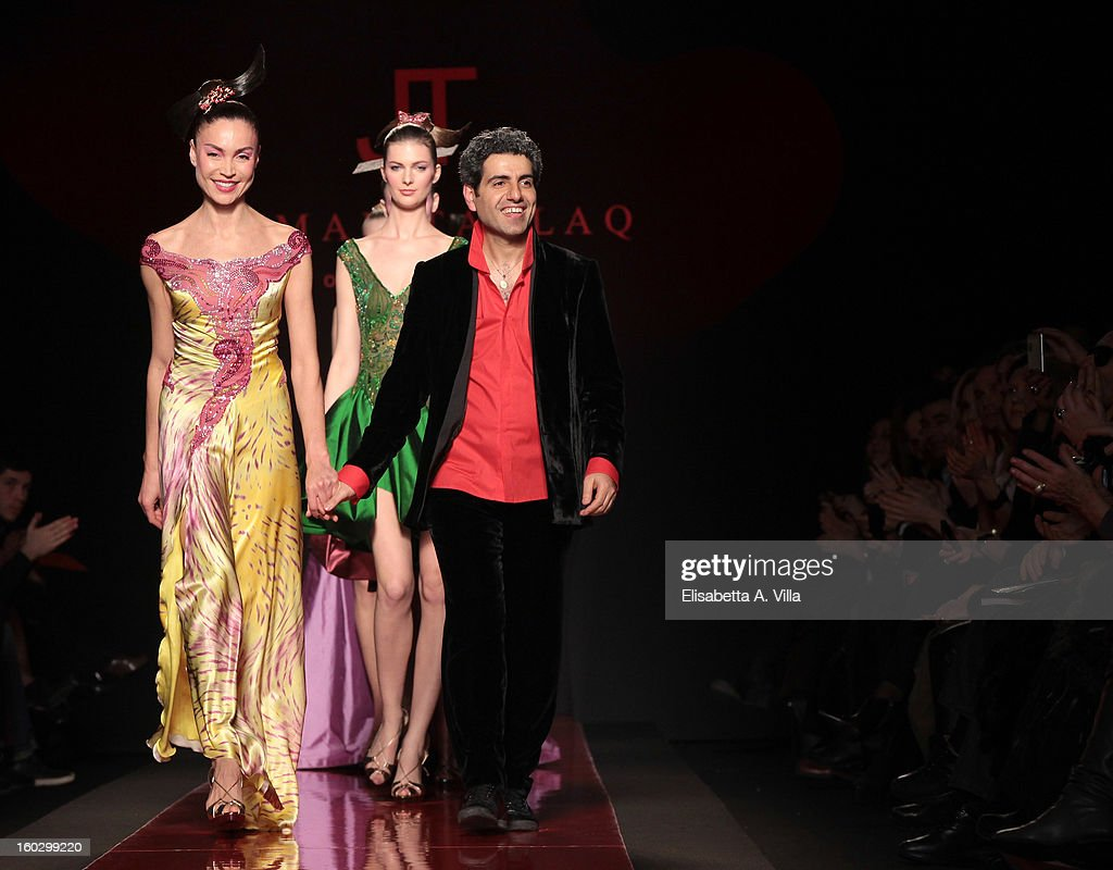 Designer Jamal Taslaq walks the runway during Jamal Taslaq S/S 2013 Haute Couture colletion fashion show as part of AltaRoma AltaModa Fashion Week at Santo Spirito In Sassia on January 28, 2013 in Rome, Italy.