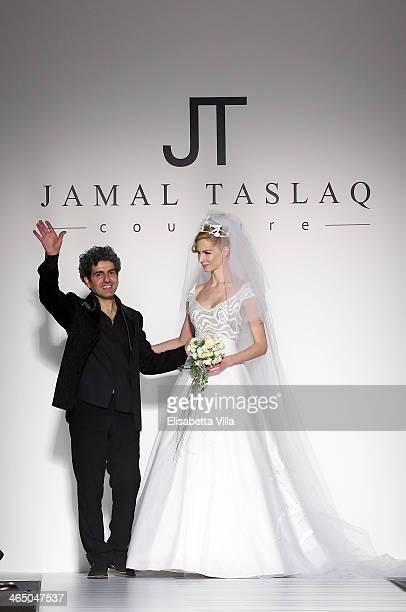 Designer Jamal Taslaq walks the runway during Jamal Taslaq S/S 2014 Haute Couture colletion fashion show as part of AltaRoma AltaModa Fashion Week at...