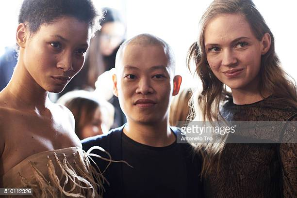 Designer Jason Wu poses with his models prior the backstage at the Jason Wu fashion show during the Fall Winter 2016 New York Fashion Week on...