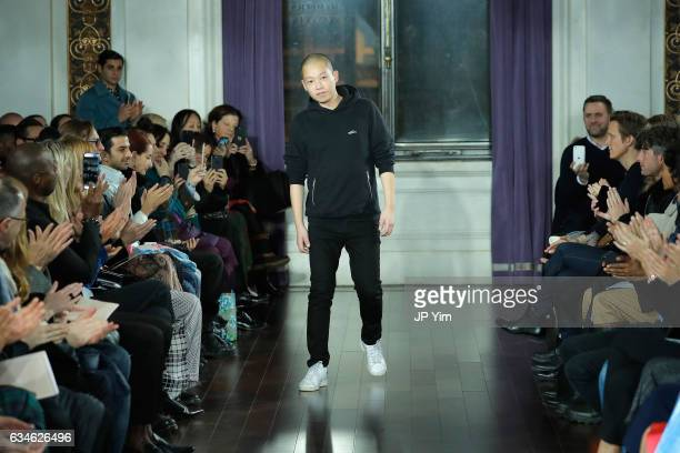 Designer Jason Wu walks the runway after the finale of the Jason Wu collection during New York Fashion Week at The St Regis on February 10 2017 in...