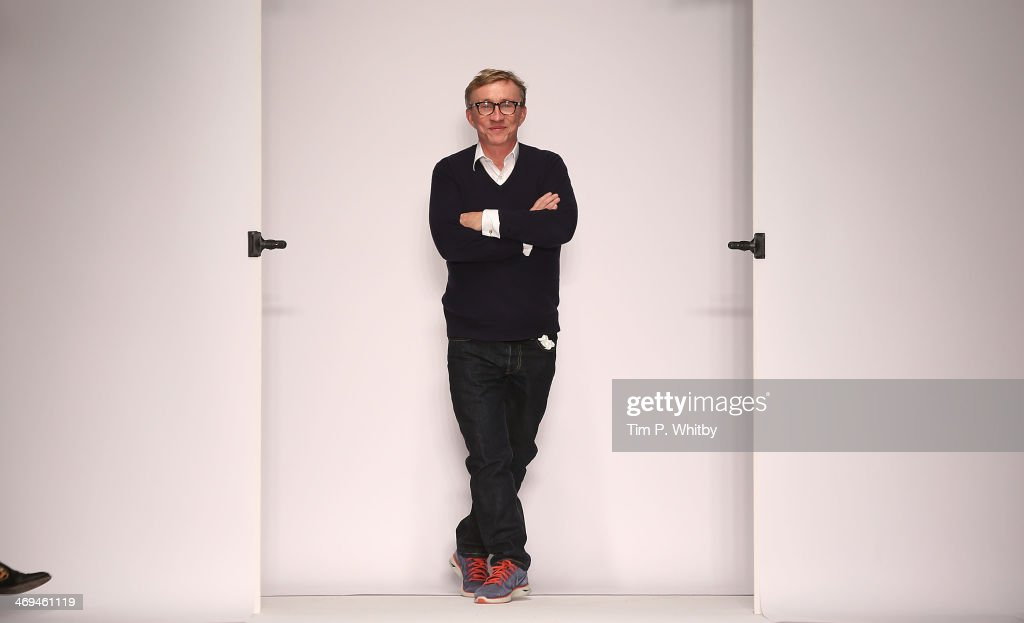 Designer <a gi-track='captionPersonalityLinkClicked' href=/galleries/search?phrase=Jasper+Conran+-+Fashion+Designer&family=editorial&specificpeople=6421197 ng-click='$event.stopPropagation()'>Jasper Conran</a> on the runway at the <a gi-track='captionPersonalityLinkClicked' href=/galleries/search?phrase=Jasper+Conran+-+Fashion+Designer&family=editorial&specificpeople=6421197 ng-click='$event.stopPropagation()'>Jasper Conran</a> show at London Fashion Week AW14 at Saatchi Gallery on February 15, 2014 in London, England.