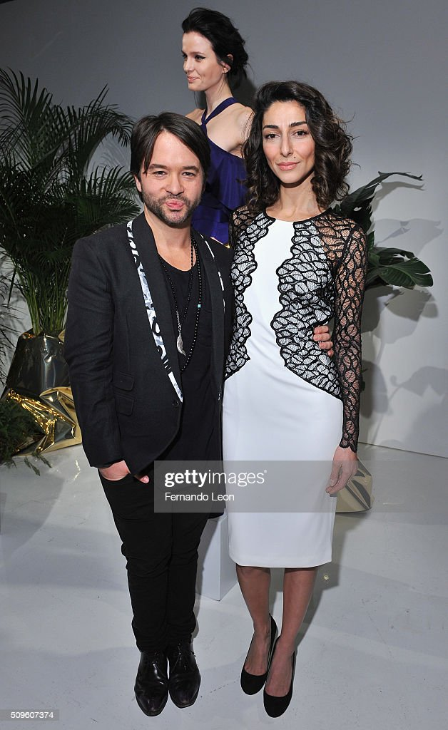 Designer Jay Godfrey (L) and guest attend Jay Godfrey Fall 2016 presentation during New York Fashion Week: The Shows at The Space, Skylight at Clarkson Square on February 11, 2016 in New York City.