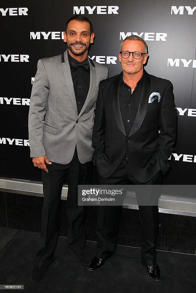Designer Jayson Brunsdon (R) and Aaron Elias arrive at the Myer Autumn/Winter 2013 collections launch at Mural Hall at Myer on February 28, 2013 in Melbourne, Australia.