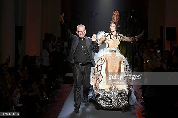 Designer Jean Paul Gaultier and model walks the runway at the Jean Paul Gaultier Autumn Winter 2015 fashion show during Paris Haute Couture Fashion...