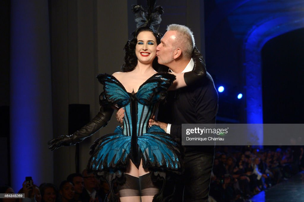 Designer <a gi-track='captionPersonalityLinkClicked' href=/galleries/search?phrase=Jean+Paul+Gaultier+-+Fashion+Designer&family=editorial&specificpeople=4310036 ng-click='$event.stopPropagation()'>Jean Paul Gaultier</a> kisses <a gi-track='captionPersonalityLinkClicked' href=/galleries/search?phrase=Dita+Von+Teese&family=editorial&specificpeople=210578 ng-click='$event.stopPropagation()'>Dita Von Teese</a> on the runway for <a gi-track='captionPersonalityLinkClicked' href=/galleries/search?phrase=Jean+Paul+Gaultier+-+Fashion+Designer&family=editorial&specificpeople=4310036 ng-click='$event.stopPropagation()'>Jean Paul Gaultier</a> show finale as part of Paris Fashion Week Haute Couture Spring/Summer 2014 on January 22, 2014 in Paris, France.