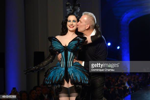 Designer Jean Paul Gaultier kisses Dita Von Teese on the runway for Jean Paul Gaultier show finale as part of Paris Fashion Week Haute Couture...