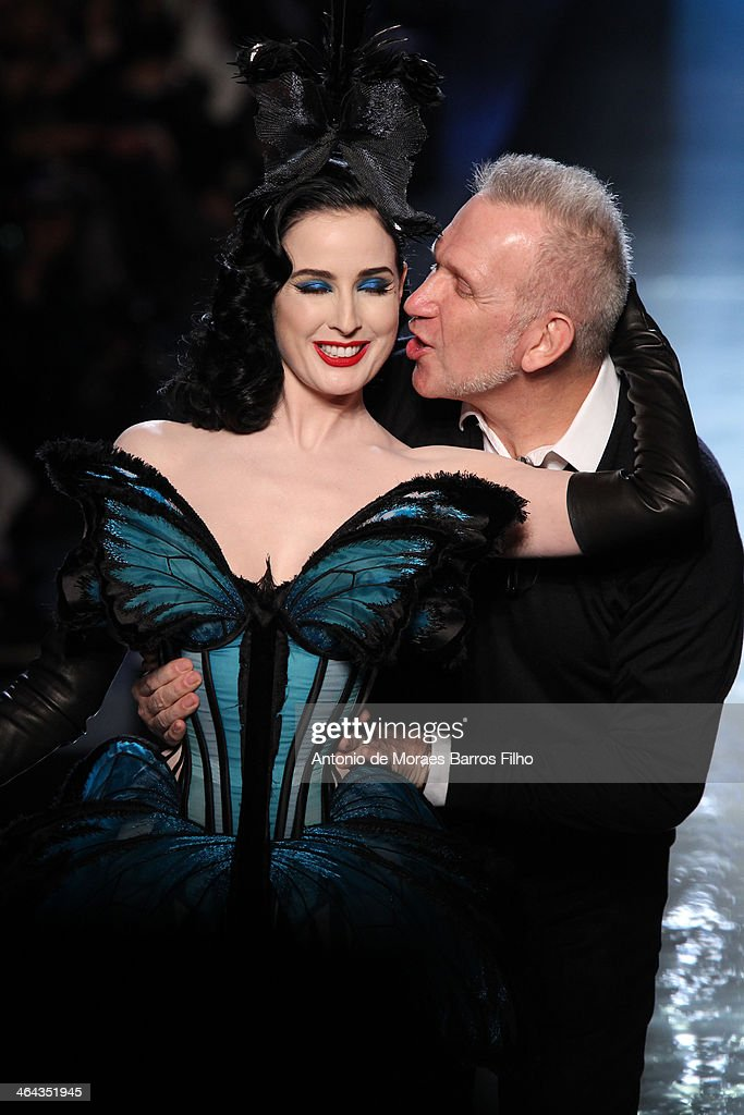 Designer <a gi-track='captionPersonalityLinkClicked' href=/galleries/search?phrase=Jean+Paul+Gaultier+-+Fashion+Designer&family=editorial&specificpeople=4310036 ng-click='$event.stopPropagation()'>Jean Paul Gaultier</a> kisses <a gi-track='captionPersonalityLinkClicked' href=/galleries/search?phrase=Dita+Von+Teese&family=editorial&specificpeople=210578 ng-click='$event.stopPropagation()'>Dita Von Teese</a> on the runway during <a gi-track='captionPersonalityLinkClicked' href=/galleries/search?phrase=Jean+Paul+Gaultier+-+Fashion+Designer&family=editorial&specificpeople=4310036 ng-click='$event.stopPropagation()'>Jean Paul Gaultier</a> show as part of Paris Fashion Week Haute Couture Spring/Summer 2014 on January 22, 2014 in Paris, France.