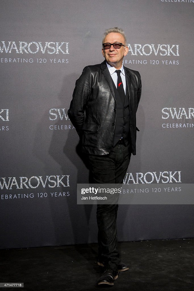 Designer Jean Paul Gaultier poses for a picture on the 'black' carpet of the grand re-opening of the Swarovski Crystal Worlds on April 28, 2015 in Wattens, Austria. The Crystal Worlds was undergoing a major expansion, worth a total investment volume of 34 million Euro. The total ares of the previously 3,5 hectares has been more than doubled to 7,5 hectares.