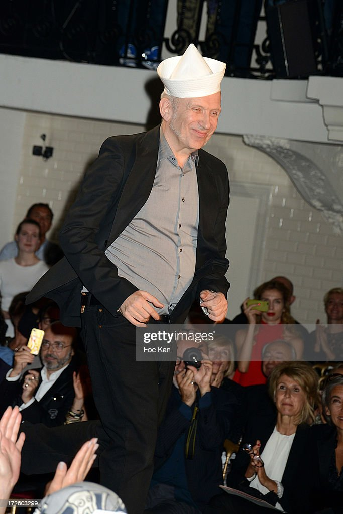 Designer Jean Paul Gaultier walks the runway during the Jean Paul Gaultier show as part of Paris Fashion Week Haute-Couture Fall/Winter 2013-2014 at 325 Rue Saint Martin on July 3, 2013 in Paris, France.