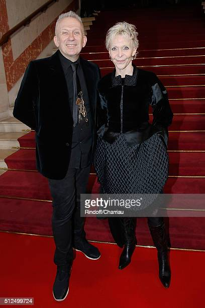 Designer JeanPaul Gaultier and Director Tonie Marshall attend the Cesar Film Award 2016 at Theatre du Chatelet on February 26 2016 in Paris France