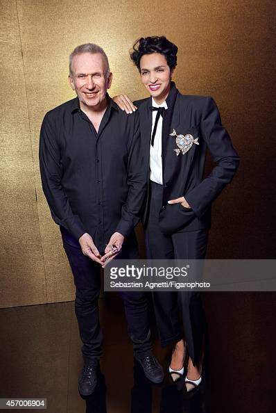 Designer JeanPaul Gaultier and model Farida Khelfa are photographed for Madame Figaro on July 9 2014 in Paris France PUBLISHED IMAGE CREDIT MUST READ...