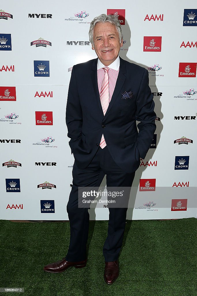 Designer Jeff Banks poses at the 2013 Melbourne Cup Carnival Launch at Flemington Racecourse on October 28, 2013 in Melbourne, Australia.
