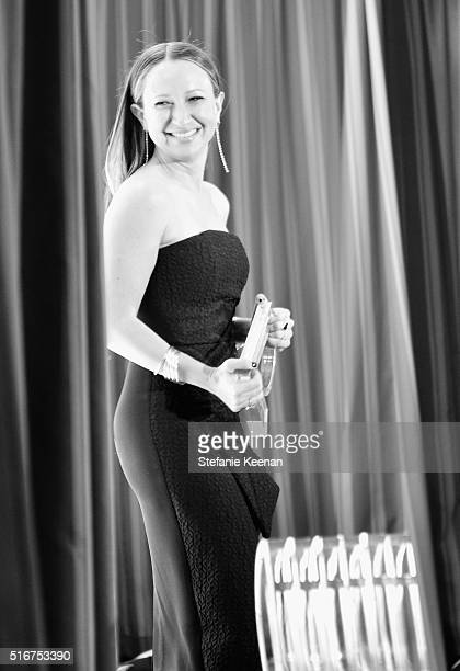 EXCLUSIVE COVERAGE Designer Jennifer Meyer accepts the FLA Best Jewelry Designer award onstage during The Daily Front Row 'Fashion Los Angeles...