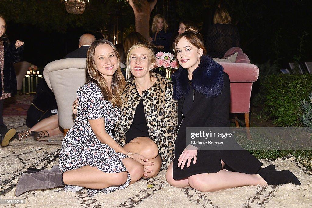 Designer Jennifer Meyer filmmaker Sam TaylorJohnson and actress Dakota Johnson attend Barneys New York Jennifer Aniston and Tobey Maguire host a...