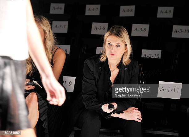 Designer Jenny Packham prepares backstage at the Jenny Packham fashion show during MercedesBenz Fashion Week Spring 2014 at The Studio at Lincoln...