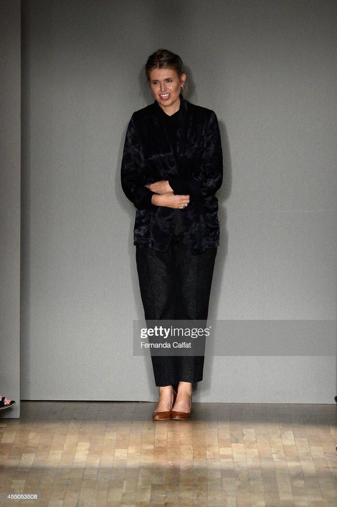 Designer Jenny Packham walks the runway at the Jenny Packham fashion show during MercedesBenz Fashion Week Spring 2015 on September 9 2014 in New...