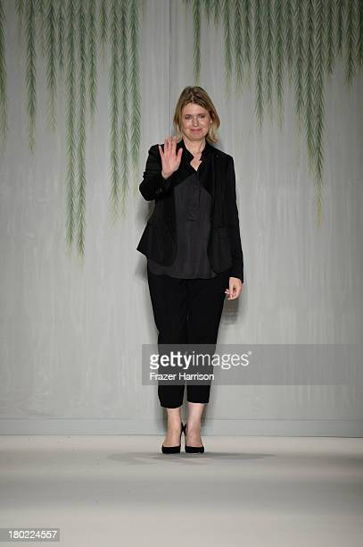 Designer Jenny Packham walks the runway with TRESemme at the Jenny Packham fashion show during MercedesBenz Fashion Week Spring 2014 at The Studio at...