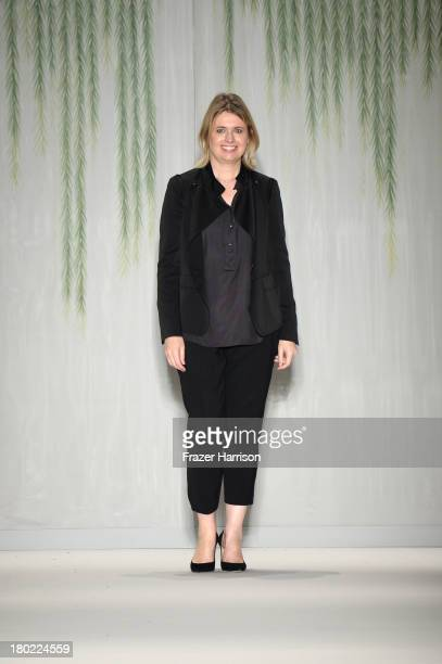 Designer Jenny Packham with TRESemme walks the runway at the Jenny Packham fashion show during MercedesBenz Fashion Week Spring 2014 at The Studio at...