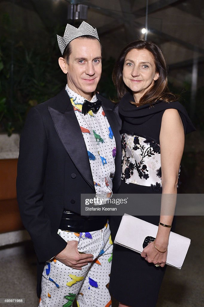 Designer Jeremy Scott and Artistic Director of Longchamp Sophie Delafontaine attend Jeremy Scott For Longchamp 10th Anniversary held at a Private Residence on November 5, 2015 in Beverly Hills, California.