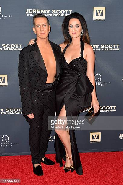 Designer Jeremy Scott and singer Katy Perry attends the premiere of The Vladar Company's 'Jeremy Scott The People's Designer' at TCL Chinese 6...