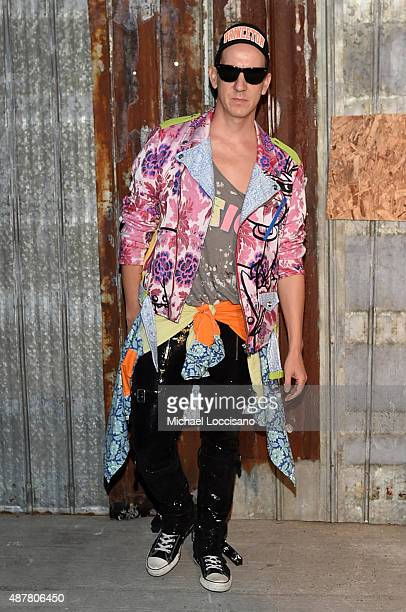 Designer Jeremy Scott attends the Givenchy fashion show during Spring 2016 New York Fashion Week at Pier 26 at Hudson River Park on September 11 2015...