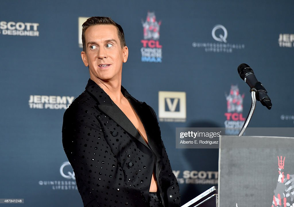 Designer Jeremy Scott is honored during his hand print ceremony at TCL Chinese Theatre IMAX Forecourt on September 8, 2015 in Hollywood, California.