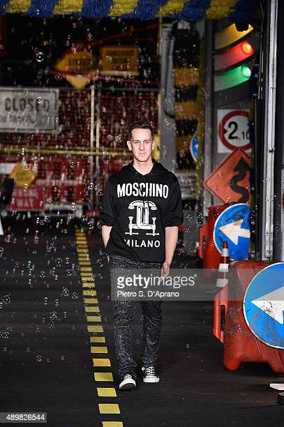 Designer Jeremy Scott is seen on the runway during the Moschino fashion show as part of Milan Fashion Week Spring/Summer 2016 on September 24 2015 in...