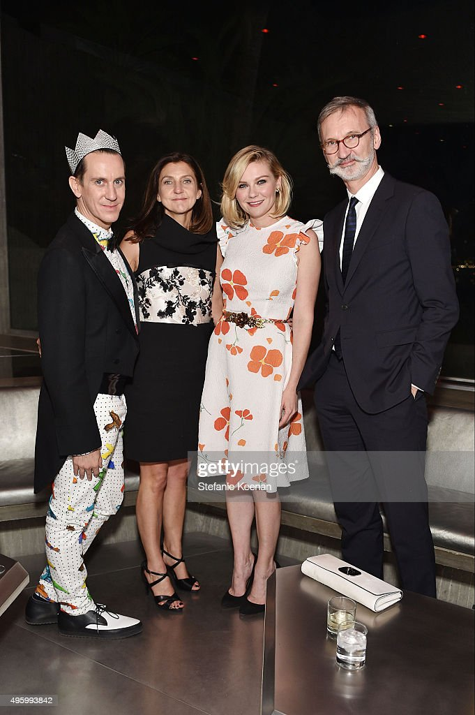 Designer Jeremy Scott, Longchamp Artistic Director Sophie Delafontaine, actress Kirsten Dunst and Longchamp CEO Jean Cassegrain attend Jeremy Scott For Longchamp 10th Anniversary held at a Private Residence on November 5, 2015 in Beverly Hills, California.
