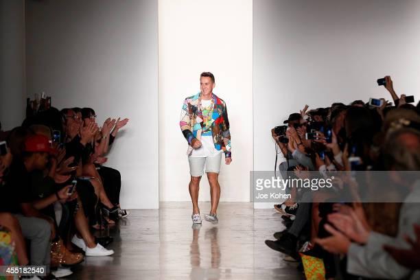 Designer Jeremy Scott walks the runway at the Jeremy Scott fashion show during MADE Fashion Week Spring 2015 at Milk Studios on September 10 2014 in...