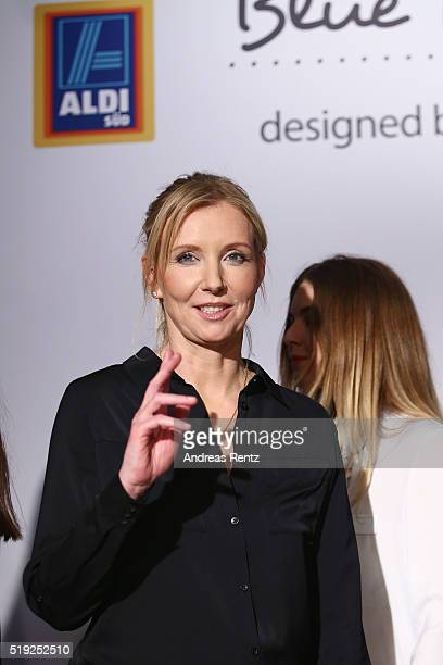 Designer Jette Joop gestures at the ALDI SUED Blue Motion by Jette Joop fashion show on April 5 2016 in Duesseldorf Germany