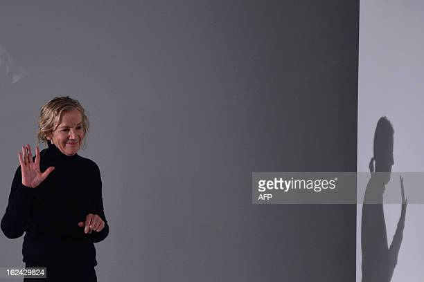 Designer Jil Sander acknowledges the audience at the end of her FallWinter 20132014 Womenswear collection on February 23 2013 during the Women's...