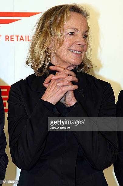 Designer Jil Sander poses for photographs during a press conference at Four Seasons Hotel Chinzanso on March 17 2009 in Tokyo Japan Sander closes the...