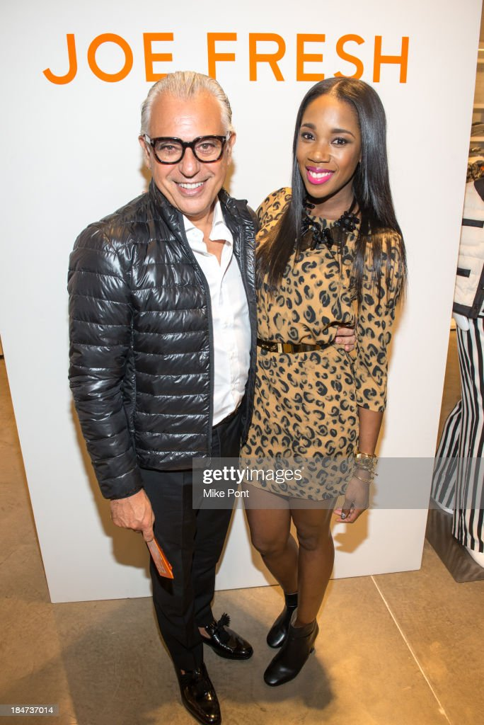 Designer Joe Mimran and DJ Kiss attend the Joe Fresh Soho opening party at Joe Fresh Soho on October 15 2013 in New York City