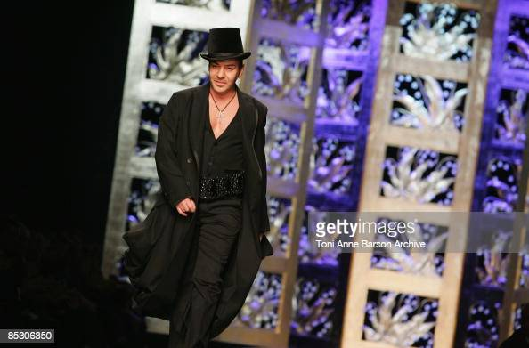 Designer John Galiano attends the Christian Dior ReadytoWear A/W 2009 fashion show during Paris Fashion Week at Espace Ephemere des Tuileries on...