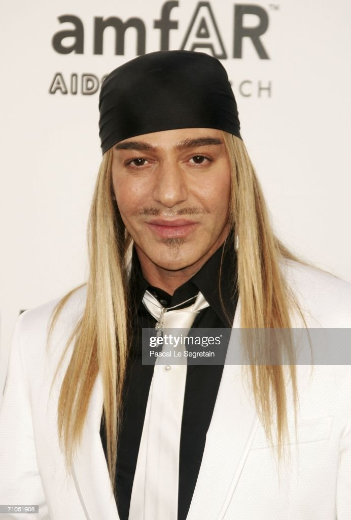 Designer John Galliano arrives at 'Cinema Against AIDS 2006' the annual event in aid of amfAR at Le Moulin de Mougins during the 59th International...