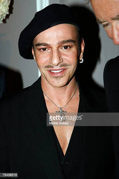 Designer John Galliano attends the Christian Dior Fashion show as part of Paris Fashion Week Autumn/Winter 2008 at Jardin des Tuileries on February...