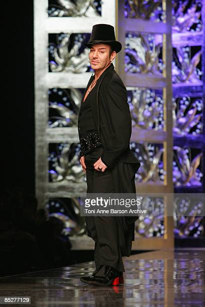 Designer John Galliano attends the Christian Dior ReadytoWear A/W 2009 fashion show during Paris Fashion Week at Espace Ephemere des Tuileries on...