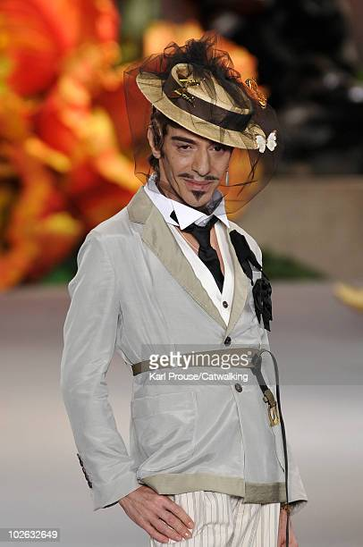 Designer John Galliano on the runway during the Christian Dior fashion show at Paris Haute Couture Fashion Week for Autumn Winter 2010 on July 5 2010...