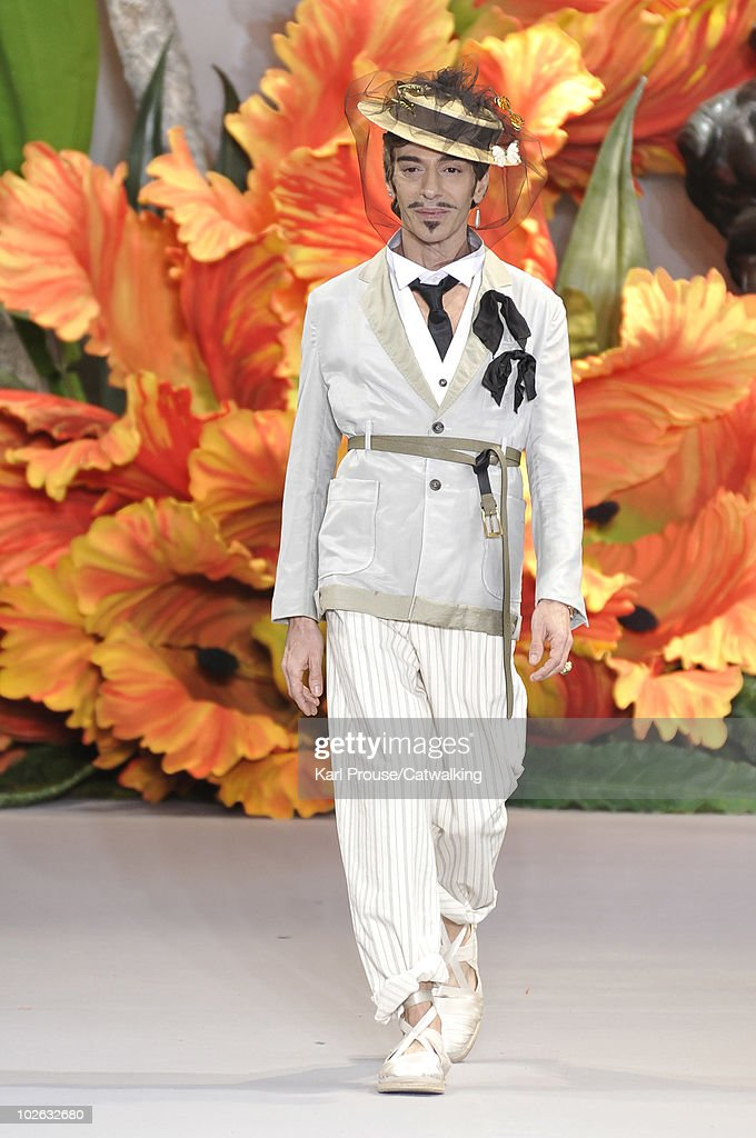 Designer John Galliano on the runway during the Christian Dior fashion show at Paris Haute Couture Fashion Week for Autumn Winter 2010 on July 5, 2010 in Paris, France.