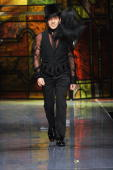 Designer John Galliano the runway at the Christian Dior fashion show during Paris Fashion Week Haute Couture Spring/Summer 2009 on January 26 2009 in...
