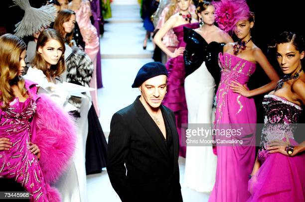 Designer John Galliano walks down the catwalk during the Christian Dior fashion show as part of Paris Fashion Week Autumn/Winter 2008 on February 27...