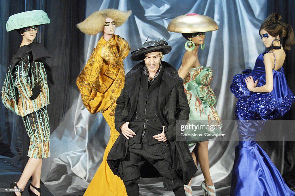 Designer John Galliano walks the runway after the Christian Dior fashion show part of the Paris Spring/Summer 2008 Haute Couture Fashion Week on the...