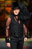 Designer John Galliano walks the runway at the Christian Dior fashion show during Paris Fashion Week Haute Couture Spring/Summer 2009 on January 26...
