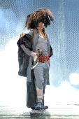 Designer John Galliano walks the runway during at the end of the John Galliano Ready to Wear show as part of the Paris Womenswear Fashion Week...