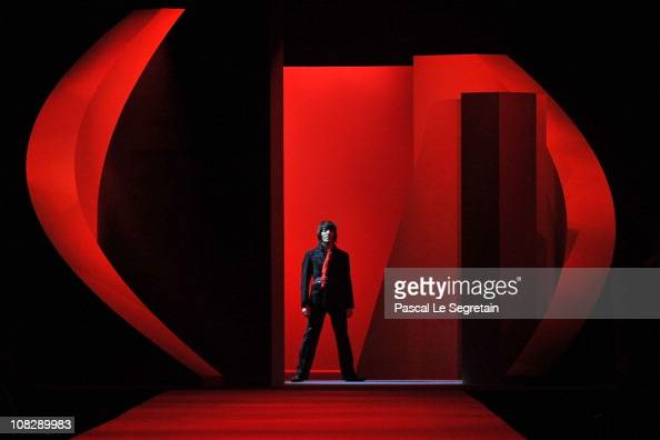 Designer John Galliano walks the runway during the Christian Dior show as part of the Paris Haute Couture Fashion Week Spring/Summer 2011 at Musee...