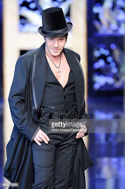 Designer John Galliano walks the runway during the Christian Dior ReadytoWear A/W 2009 fashion show during Paris Fashion Week at Espace Ephemere...
