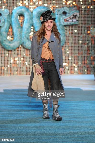 Designer John Galliano walks the runway during the Christian Dior Cruise 2009 Collection at Gustavino's May 12 2008 in New York City