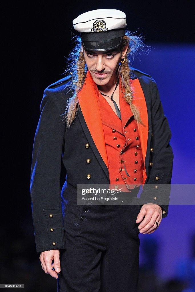 Designer John Galliano walks the runway during the Christian Dior Ready to Wear Spring/Summer 2011 show during Paris Fashion Week at Espace Ephemere...